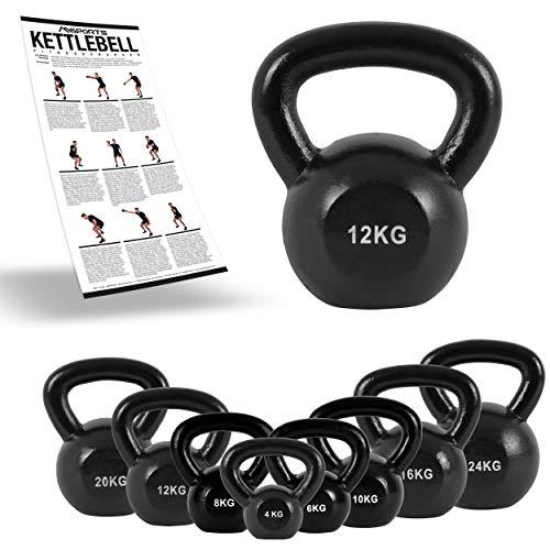 MSPORTS Kettlebell Professional Iron 2 - 30 kg inkl. Übungsposter Kugelhantel (12 kg)