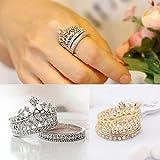 Las mujeres de moda Reina corona patrón juego de anillos brillantes anillos de dos piezas Natural