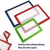 Tappetino da forno in silicone, set da 3pezzi, tappetino da forno antiaderente in silicone antiscivolo sicura foglio forno senza BPA 2grande (41,9x 29,2cm) e 1piccole (30,5x 20,3cm) cottura Mat