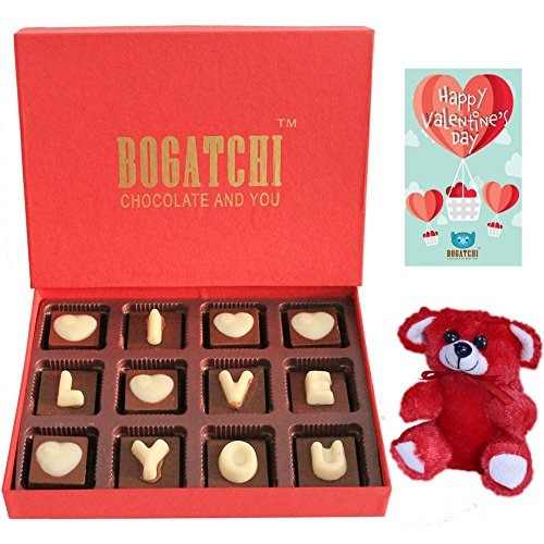 Bogatchi Premium Valentine Chocolates, 120g with Teddy and Valentine's Day Greeting Card