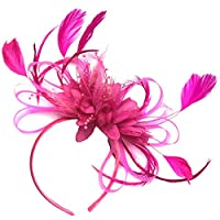 Feather Hair Fascinator Headband Wedding and Royal Ascot Races Ladies, Fuchsia Hot Pink, M