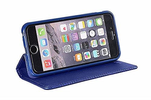 """SMART BOOK CASE MAGNET für Apple iphone 7 4.7"""" [rot] Handy Tasche Flipcase Etui Buchform Kunststoff Cover TPU Halter Handyhülle Schlitz für Kreditkarte blau"""
