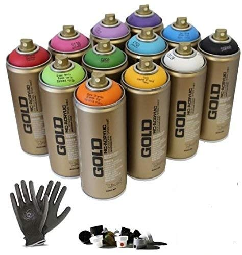 Graffiti - Pack 12 Spray de pintura latas, guantes de protección + Try-out Cap Set - perfecto para principiantes.