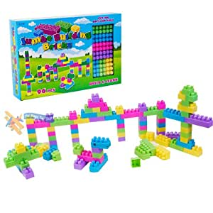 96 Piece Childrens Jumbo Building Blocks Bricks Shapes Construction Toy Set