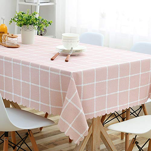 WENYAO Home Dining Tablecloth Waterproof Oil-Proof Anti-hot rectangSmall Fresh Coffee tabtablecloth Cloth Art Decorations/tabcover Protector Cloth for Dining Room,pink_135*200cm Hot Pink Checker
