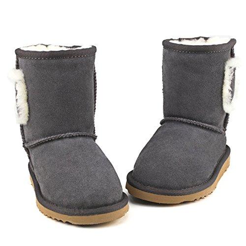 Shenduo - Bottes fille & garçon cuir de mouton, Boots fourrées colorées doublure chaude en laine Mixte enfant D8752 Gris