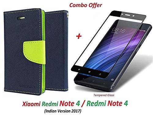 Goelectro Xiaomi Redmi Note 4 / mi redmi note 4 / Redmi Note 4 (COMBO OFFER) Flip Cover Case Wallet Style for Redmi Note 4 ( Blue:green ) + 2.5D curved 3D Edge to Edge Tempered Glass Screen Protector ( Black )