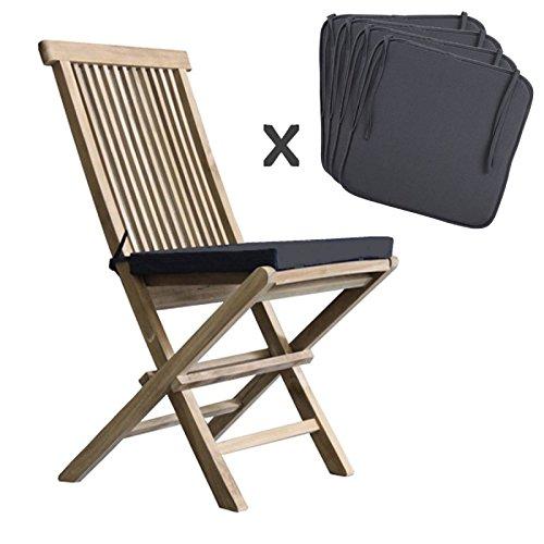 BOIS DESSUS BOIS DESSOUS Lot de 4 coussins de chaise noir