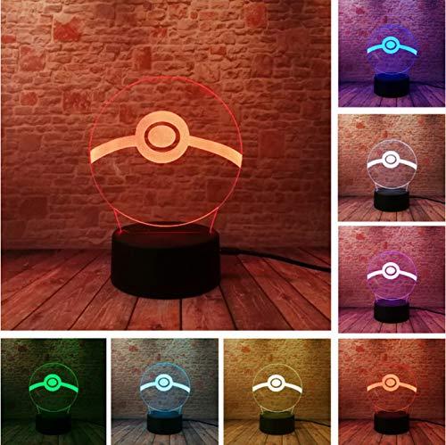 Pokemon Pokemon Gehen Pokeball 3D Nachtlicht Led Atmosphäre Hochzeitsgeschenke Schlafzimmer Wohnkultur 7 Farbwechsel Gradienten Illusion Lampe