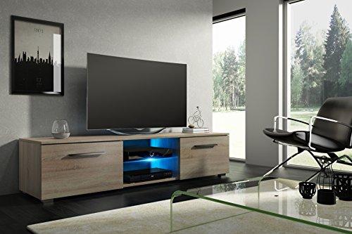 Tenus – TV banc/meuble TV avec LED en bleu, effet bois/Chêne Sonoma Mat, 140 cm