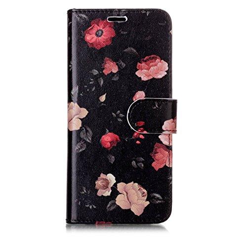 Samsung Galaxy S8S8Fall, Wallet Fall, flyee Flip Case Wallet [Standfuß] Relief Schmetterling Blume Folio Magnetic Schutzhülle aus Leder mit Kartenschlitzen, Samsung Galaxy s8 Heisehua