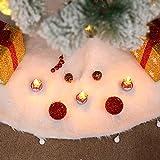 fangkuai-xmas Bianca Felpa Gonne per Alberi di Natale, Decorazioni Natalizie, 122Cm(48')