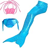 Sijueam Alxcio Mädchen Meerjungfrauen Bikini Tankini Kostüm Meerjungfrauenschwanz zum Schwimmen Meerjungfrau Meerjungfrauenschwanz + Schwanzflosse + Niedlich Muschelbikini Blaues Set