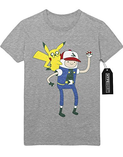 T-Shirt Pokemon Go TEAM INSTINCT Adventure TIme Mashup Finn and Jake Hype Kanto X Y Nintendo Blue Red Yellow Plus Hype Nerd Game C123137 Grau (Adventure Cosplay Time Kostüme)