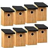 ASAB Vogelnestkasten aus massivem Holz für den Außenbereich mit Scharnierdeckel, Holz, 8 Stück