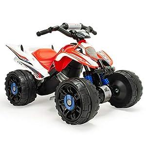 INJUSA Quad Honda a Batería de 12V para Niños de más de 3 Años con Marcha Atrás y Banda de Goma en Las Ruedas, Color Rojo y Blanco (66017)