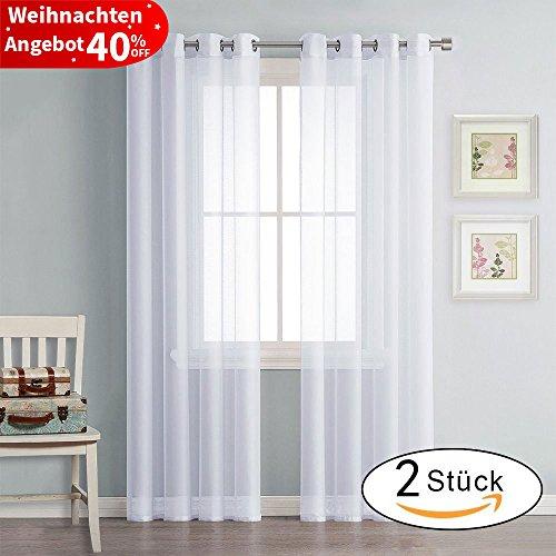 Gardine Vorhang Transparent Voile Weiß - PONY DANCE ( H 245 x B 140 cm, 2er-Set ) Gaze Ösenschals Fensterschal Vorhänge mit Ösen Dekoschal für Schlafzimmer Wohnzimmer