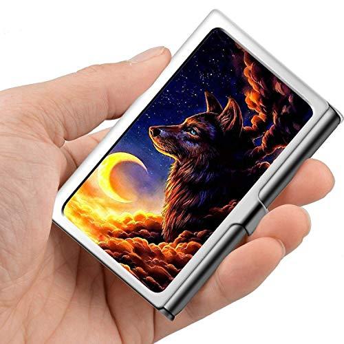 Professionelle Visitenkarte, Brieftasche aus Edelstahl Kreditkarten-ID-Kartenhalter Wolf Cloud Moon