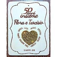 Crociedelizie, Idea regalo nozze d'oro d'argento 50 25 anni matrimonio cinquantesimo venticinquesimo anniversario targa personalizzata sposi