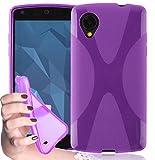 Cadorabo Hülle für LG Nexus 5 Hülle in Handyhülle aus flexiblem TPU Silikon im X-Line Design Silikonhülle Schutzhülle Soft Back Cover Case Bumper Flieder Violett