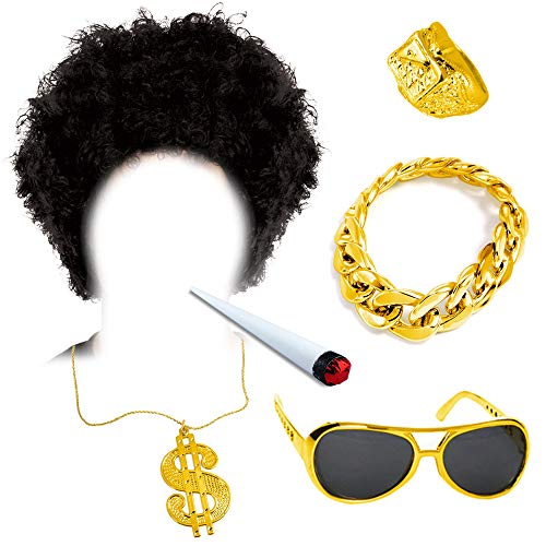 German Trendseller® Afro Gangster - Set - Deluxe ┃ Afro Perücke + Rapper Gold Brille + Dollar Kette + Armband + Ring + Joint ┃ Party ┃6 -Teiliges Set