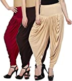 Fashion And Freedom Women's Pack of 3 Red, Brown And Cream Viscose Dhoti
