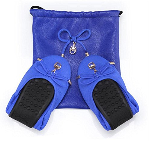 SHINIK Frauen Faltbare Ballettschuhe Bows Echtes Leder Shaped ShoeFold up Ballett Pumps Blue