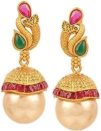 Swasti Jewels Created Emerald Ruby Fashion Jewellery Traditional Ethnic Pearls Jhumka Earrings For Women