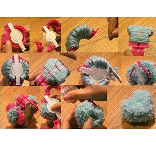 2 Size Heart Pompom Maker Fluff Ball Weaver Needle Knitting Crafts DIY Tool Kit