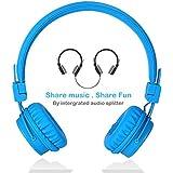 Termichy Wired Kinder Kopfhörer faltbarer On-Ear Hifi Stereo headset mit Inline-Control Abnehmbare 3,5mm Klinkenstecker Audio Kabel (Shareport-Blau)