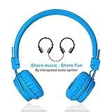 Termichy Wired Kinder Kopfhörer faltbarer On-Ear Hifi Stereo headset mit Inline-Control Abnehmbare 3,5mm Klinkenstecker Audio Kabel (Blau)
