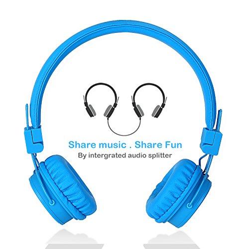Cuffie per bambini a filo con microfono volume limitato per condivisione musica, cuffia stereo pieghevole portatile per iphone ipad ipod smartphone tablet pc da termichy (blu)