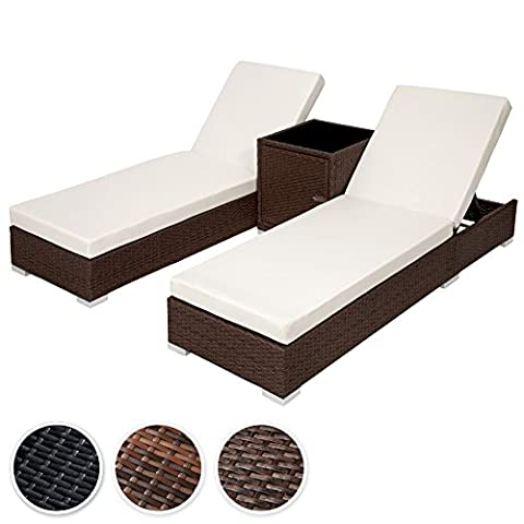 TecTake 2x Aluminium Rattan day bed + table set sun canopy lounger +2sets for exchanging upholstery + protection slipcover - different colours - (Brown Antique (No. 401818))