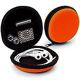 MyGadget Universal Mini Tasche Schutztasche - Kopfhörer Transport Box mit Netzfach - Zubehör für z.B. In Ear Ohrhörer, iPod Shuffle, USB Sticks - Orange