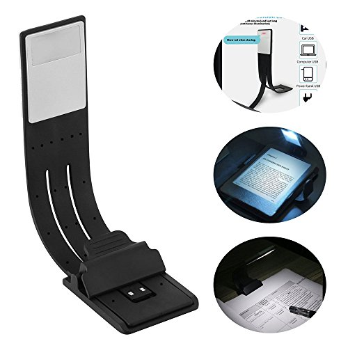 LED Buchlampe, Auoker USB Wiederaufladbare LED eBook Reading Licht & Lesezeichen mit flexiblen Clip und 2-Grade einstellbar Helligkeit Leselampe für Leser