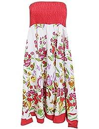 Universal Textiles Womens/Ladies Floral Bandeau Midi 2 In 1 Summer Dress