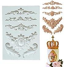 Molde de silicona para tartas, diseño barroco con flores y encaje retro, para decoración