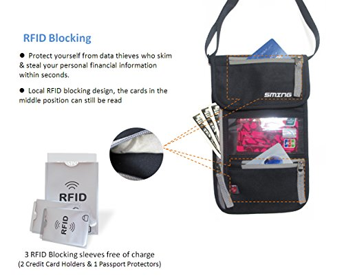 SMING Travel Neck Pouch-Pass-Halter mit RFID-Schutz- Compact Neck Wallet(2 pack) with free bonus RFID Sleeves 1 Pack