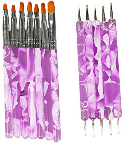 com-four® 7-teiliges Nagel Pinsel Set + 5-teiliges Nagel Dotting Pen Set zum Auftragen von UV-Gel für schönste Nail-Art/Farbe: Lila, Weiß (12-teilig)