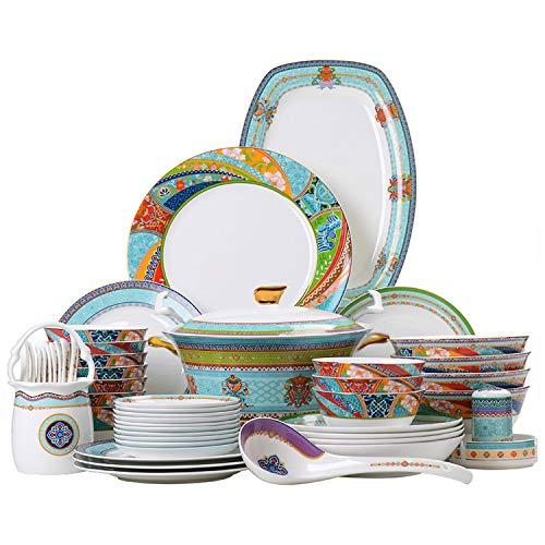 YUNDING Ensemble de Vaisselle en céramique de 60 pièces, Style Ethnique coloré, Porcelaine Chinoise sont Fait à la Main/coloré, Bol en Porcelaine Tendre/cuillère/Assiette/Plat/Poisson/Pot,