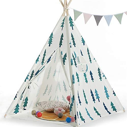 Zelte spielen Drucken Raumdekoration Kleiner Baum 4 Pole indischen Zelt Faltbare Baumwollsegeltuch Teepee Zelt mit Tragetasche Fenster for Mädchen Jungen Babys Kleinkind Indoor Outdoor Für Jungen, Mäd