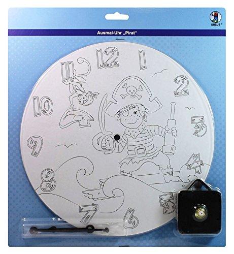 Ursus 24500000 - Ausmal-Uhr Pirat, Durchmesser, ca. 25 cm