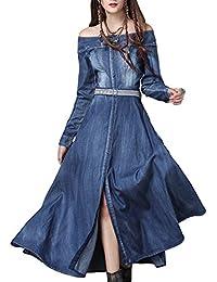 870f3fd42cef Amazon.fr   Robe en jeans - Longue   Robes   Femme   Vêtements