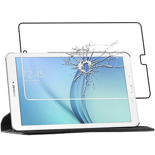 ebestStar - Housse Samsung Galaxy Tab E 9.6 T560, T561 [Dimensions PRECISES de votre appareil : 241.9 x 149.5 x 8.5 mm, écran 9.6''] - Housse Coque Etui PU cuir Support rotatif 360° + Film protection écran en VERRE Trempé, Couleur Noir