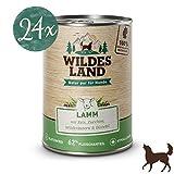 Wildes Land | Nassfutter für Hunde | Nr. 1 Lamm | 24 x 400 g | mit Reis, Zucchini, Wildkräutern & Distelöl | Glutenfrei | Extra viel Fleisch | Beste Akzeptanz und Verträglichkeit