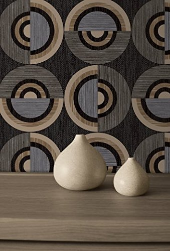 charcoal-biscuit-grey-32307-circles-retro-blown-vinyl-wallpaper