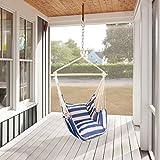 Holifine Hängesessel XL Hängesitz 120 x 150 cm Hängestuhl mit 2 x Kissen und Spreizstab aus Holz, Hängeschaukel Belastbarkeit bis 120 kg - Blau/Weiß Streifen