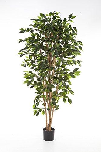artplants – Kunst-Ficus Avellino mit 430 grünen Blättern, 120 cm – Künstlicher Baum/Deko Ficus