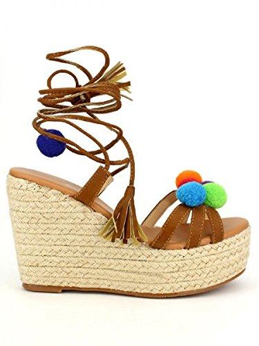 Cendriyon, Compensée Camel Pompons Colors CINK Chaussures Femme Caramel