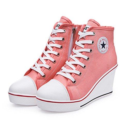 Moderne Textile 43 Compensée Chaussure Rose Haute forme Talon Wedge 35  Loisir Montante Femme De Basket 8 Mode Sneakers Cm Plate Cvdqzazw c54f9a717584